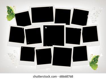 框架拼贴蝴蝶装饰,地方为您的照片