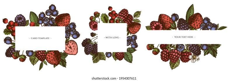 Frames with colored strawberry, blueberry, red currant, raspberry, blackberry