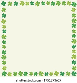 Frames, decorative borders made with hand drawn clover illustrations. A symbol of good luck. Illustration for background.