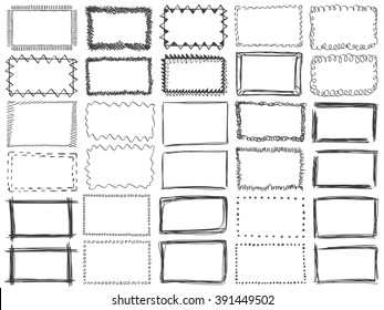 Frames doodle vector. Set of 30 simple doodles. Pencil effect collection. Curve borders. Set of simple doodles. Pencil effect isolated frames. Isolated on white background.