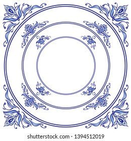 Frames in the Dutch style in blue colors, decor for painting porcelain, tiles and other designs. Gzhel, Chinese porcelain, traditional painting.