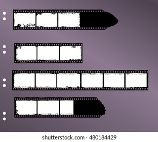 frames of film, grungy blank film stripes, contact sheet, copy space