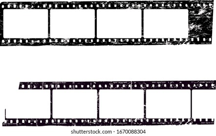 frames of film,empty  photo film frames,filmstrips with copy space, grungy style vector