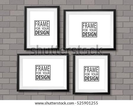 Frames Gallery On Grey Brick Wall Stock Vector (Royalty Free ...