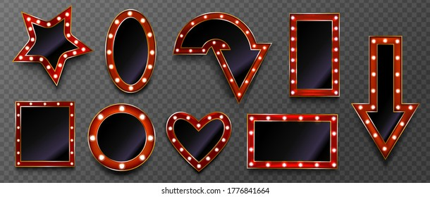 Frames with light bulbs for retro sign on circus marquee or casino isolated on transparent background. Vector realistic mockup of arrow, star and heart shape makeup mirror with red and gold borders