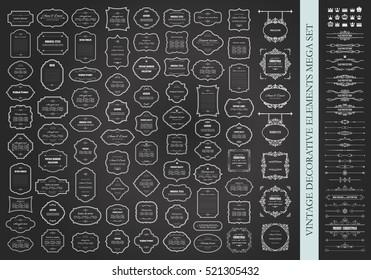Frames mega set on chalkboard. Calligraphic design elements. Dividers. Signboards. Labels. Crowns.
