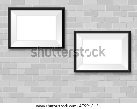 Frames On Brick Wall Black Horizontal Stock Vector Royalty Free