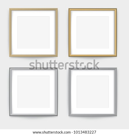 Frames On Wall Gold Silver Frame Stock Vector Royalty Free