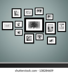 Frames on wall. Photo or picture painting art gallery in interior vector