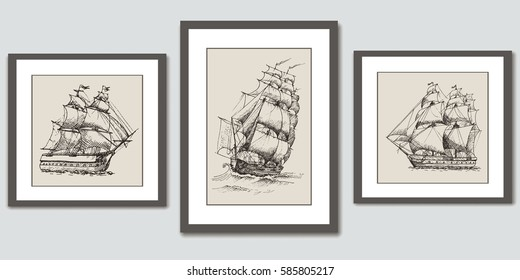Frames on wall. Vector hand drawn sketches of sailing ships