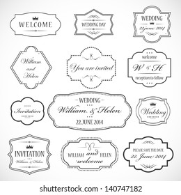 Frames And Ornaments Set - Isolated On Gray Background - Vector Illustration, Graphic Design Editable For Your Design. Logo Symbols