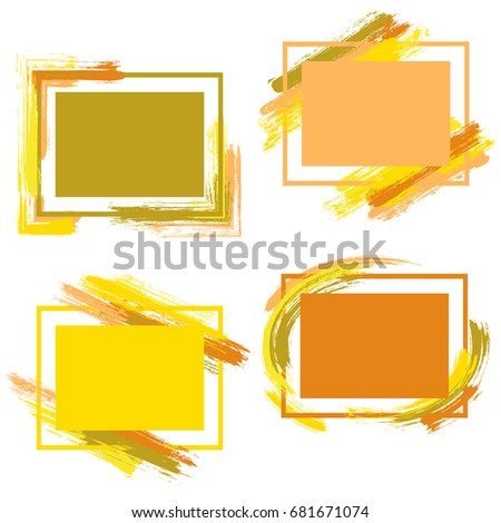 cd1fd82b1125 Frames with paint brush strokes of warm colors vector collection. Borders  with painted brushstrokes backgrounds