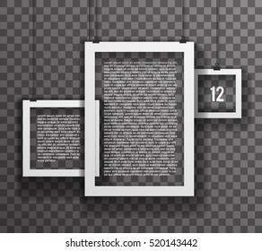 Frames Paper Big Realistic Text Poster Icon Set Template Transperent Background Mock Up Design Vector Illustration