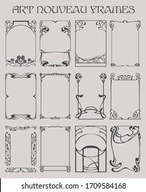 Frames, Photo Frames Art Nouveau Style, Retro Borders, Decorative Elements from the 1920s, 1930s