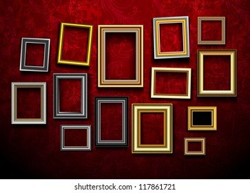 Frames for photo or picture on vintage wall. Vector borders gallery in museum exhibition