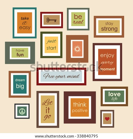 frames quotes sayings on wall vector stock vector royalty free