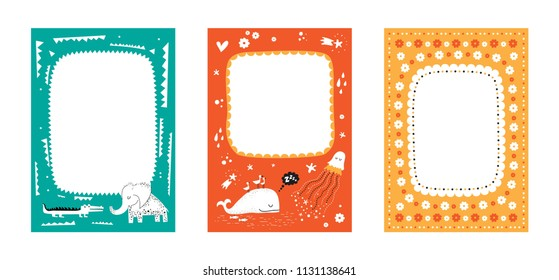 Frames set for baby's photo album, invitation, note book, postcard with cute animals in cartoon style and elements. Jellyfish, crocodile, whale, stars, clouds, hearts. Cute frame, border