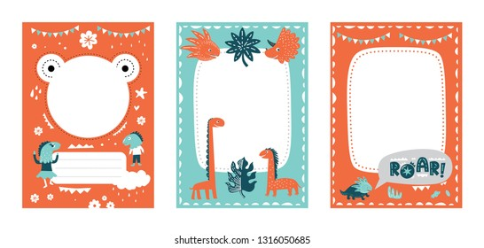 Frames set for baby's photo album, invitation, note book or postcard with cute dinosaurs in cartoon style and garland, trees, clouds, tropical leaves . Cute frame, border. Vector illustration