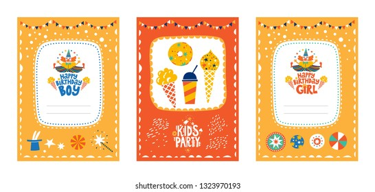 Frames set for baby's photo album, invitation, note book or postcard with cute clown in cartoon style and sweets, ice cream. Happy Birthday girl and boy text. Cute frame, border. Vector illustration