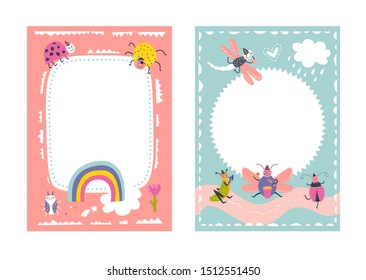 Frames set for baby's photo album, invitation, note book, postcard with cute beetles animals in cartoon style and elements. Butterfly, ladybug, rainbow, flowers. Cute frame, border