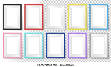 Frames set. Templates for your design. Realistic mock up vector collection. Photoframe isolated. Frames mockup. Isolated colorful photo framing for drawing, painting, business presentations, quotes.