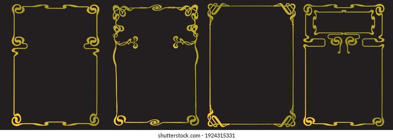 Frames with style Art Nouveau ornament vector set.