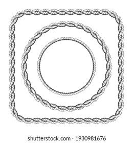 Frames of twisted rope with rounded corners, square and circle rope frame, vector