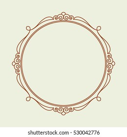 Frames .Vintage vector.Well built for easy editing . Brown .Vector illustration.A circle