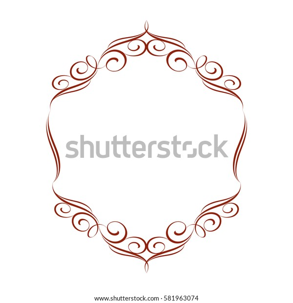 ?alligraphic frames .Vintage vector.Well built for easy editing. Brown .Vector illustration.