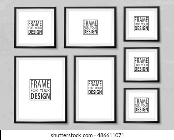 Frames wall gallery on grunge light grey wall. Black photoframe mockup. Empty framing for your design. Vector picture template for painting, drawing, poster, quote or photo.