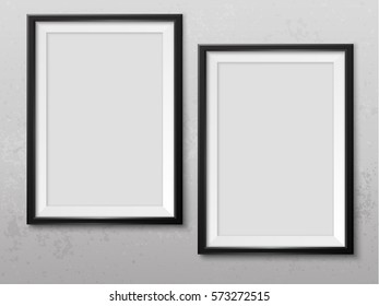 Frames wall gallery on grunge grey wall. Black photoframes mockup. Empty framing for your design. Vector picture mock up template for painting, drawing, poster, quote or photo.
