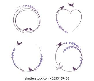 Frames for Wedding invitation. Set vector design elements, lavender flowers and birds.