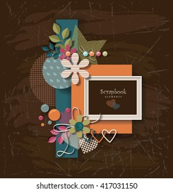 framework for invitation or congratulation. scrapbook elements.  Design template for you text.