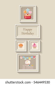 framework for invitation or congratulation. scrapbook elements. Happy birthday design. New born Baby invitation shower card.