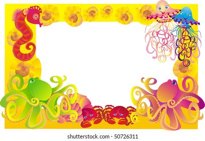 framework for photo with sea animals, vector illustration