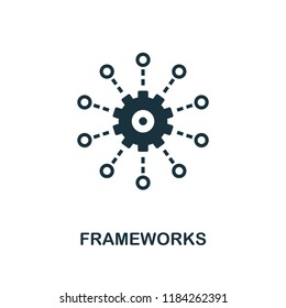 Frameworks icon. Monochrome style design from big data collection. UI. Pixel perfect simple pictogram frameworks icon. Web design, apps, software, print usage.