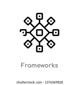frameworks vector line icon. Simple element illustration. frameworks outline icon from technology concept. Can be used for web and mobile