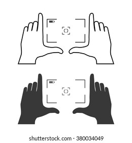 Framing hands as a base of composition. Frame made from fingers of two hands. Simple template vector illustration.