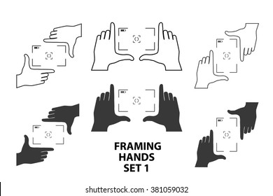 Framing hands as a template for video or photo design set1. Different combinations of frames made from fingers. Vector illustrations of perspective view.