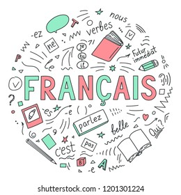 """Francais. Translate: """"French"""". Language education hand drawn doodles and lettering on white background. Vector illustration."""
