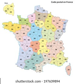 france 2-digit postcodes map