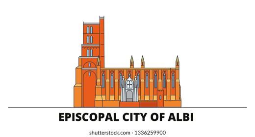 France, Albi flat landmarks vector illustration. France, Albi line city with famous travel sights, skyline, design.