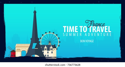 France banner. Time to Travel. Journey, trip and vacation. Vector flat illustration