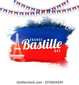 France Bastille Day concept with eiffel tower and bunting flags on blue and red background.