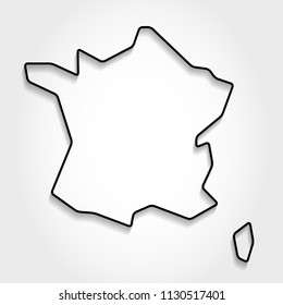 France black outline map, shadow concept
