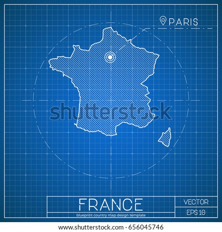 Paris Georgia Map.France Blueprint Map Template Capital City Stock Vector Royalty