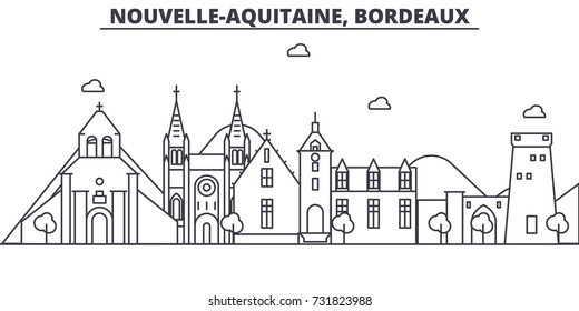 France, Bordeaux architecture line skyline illustration. Linear vector cityscape with famous landmarks, city sights, design icons. Landscape wtih editable strokes