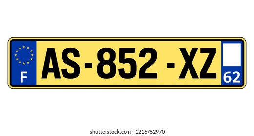 France car plate. Vehicle registration number