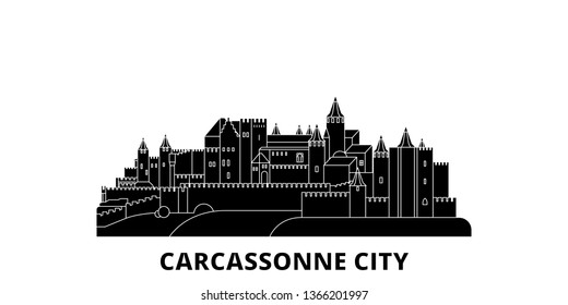 France, Carcassonne City flat travel skyline set. France, Carcassonne City black city vector illustration, symbol, travel sights, landmarks.