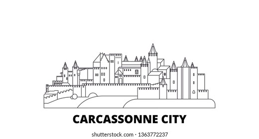 France, Carcassonne City line travel skyline set. France, Carcassonne City outline city vector illustration, symbol, travel sights, landmarks.